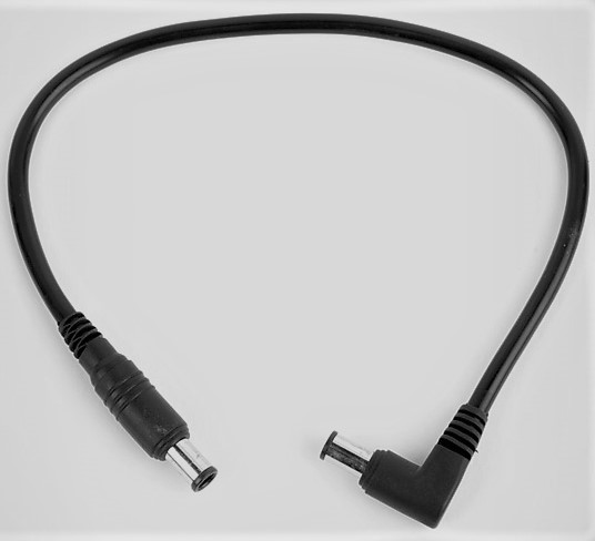 DC EIAJ Cable: Straight to Right Angle, 9in.